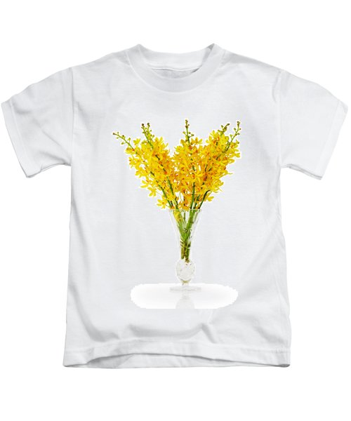 Yellow Orchid In Crystal Vase Kids T-Shirt
