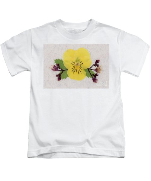 Yellow Pansy And Coral Bells Pressed Flowers Kids T-Shirt