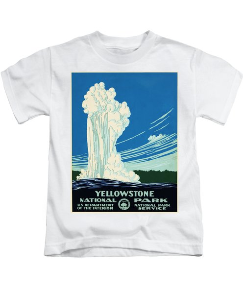 Yellow Stone Park - Vintage Travel Poster Kids T-Shirt by Ipa