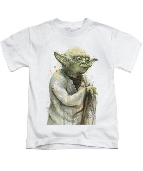 Yoda Watercolor Kids T-Shirt by Olga Shvartsur