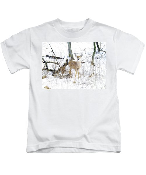 Young Doe And Spring Snow Kids T-Shirt