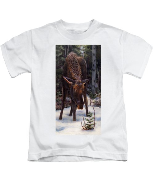 Young Moose And Snowy Forest Springtime In Alaska Wildlife Home Decor Painting Kids T-Shirt
