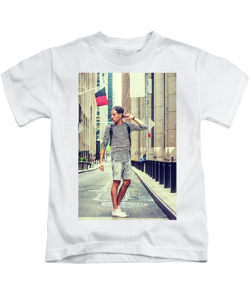 Young Russian Man Traveling In New York Kids T-Shirt