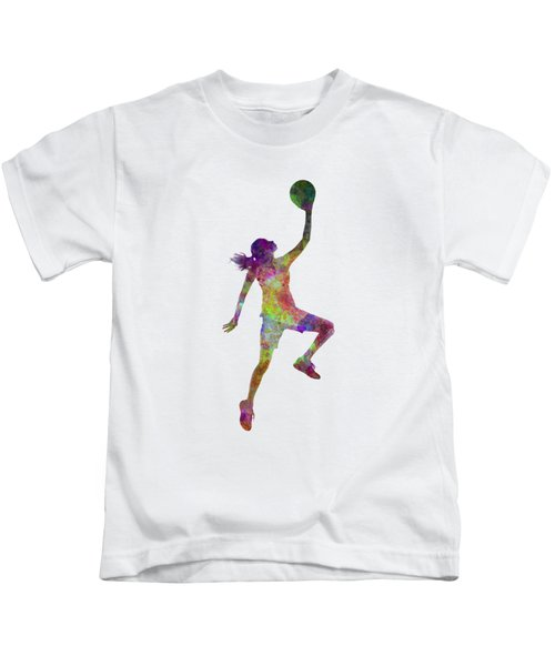 Young Woman Basketball Player 02 In Watercolor Kids T-Shirt by Pablo Romero