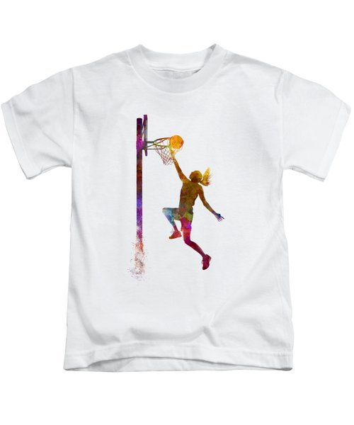 Young Woman Basketball Player 04 In Watercolor Kids T-Shirt