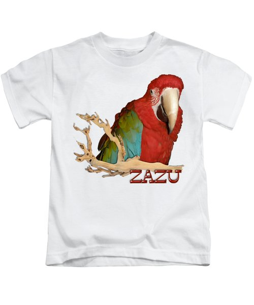 Zazu With Branch Kids T-Shirt by Zazu's House Parrot Sanctuary