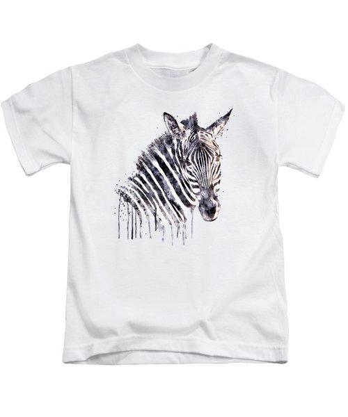 Zebra Head Kids T-Shirt by Marian Voicu