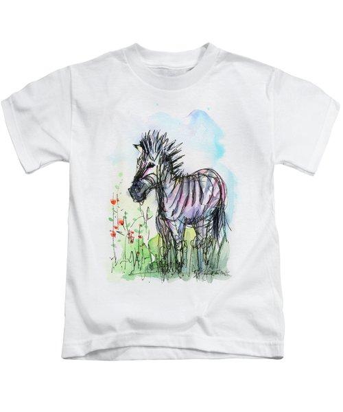 Zebra Painting Watercolor Sketch Kids T-Shirt by Olga Shvartsur