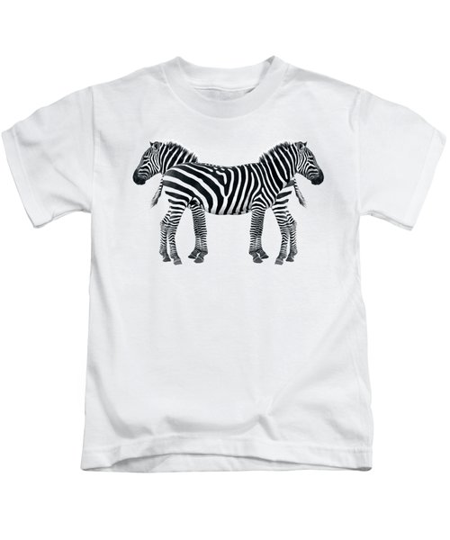 Zebra Pair On Black Kids T-Shirt by Gill Billington