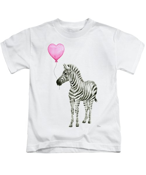 Zebra Watercolor Whimsical Animal With Balloon Kids T-Shirt