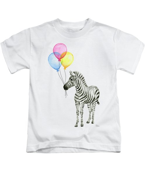 Zebra With Balloons Watercolor Whimsical Animal Kids T-Shirt by Olga Shvartsur