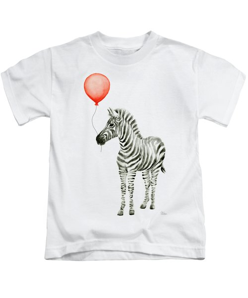 Zebra With Red Balloon Whimsical Baby Animals Kids T-Shirt by Olga Shvartsur