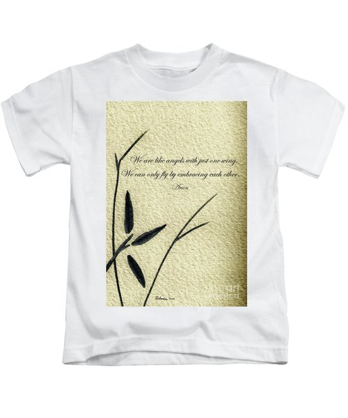 Zen Sumi 4d Antique Motivational Flower Ink On Watercolor Paper By Ricardos Kids T-Shirt