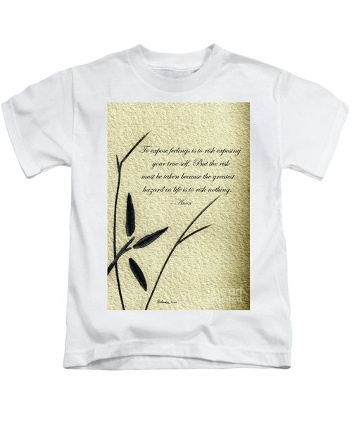 Zen Sumi 4m Antique Motivational Flower Ink On Watercolor Paper By Ricardos Kids T-Shirt