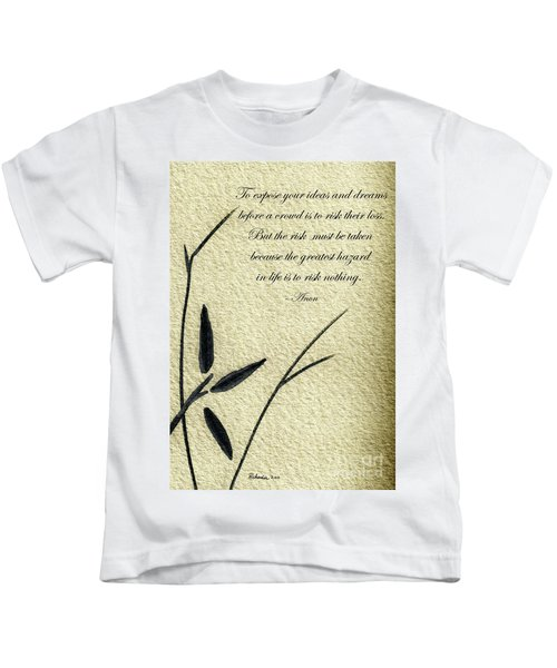 Zen Sumi 4n Antique Motivational Flower Ink On Watercolor Paper By Ricardos Kids T-Shirt