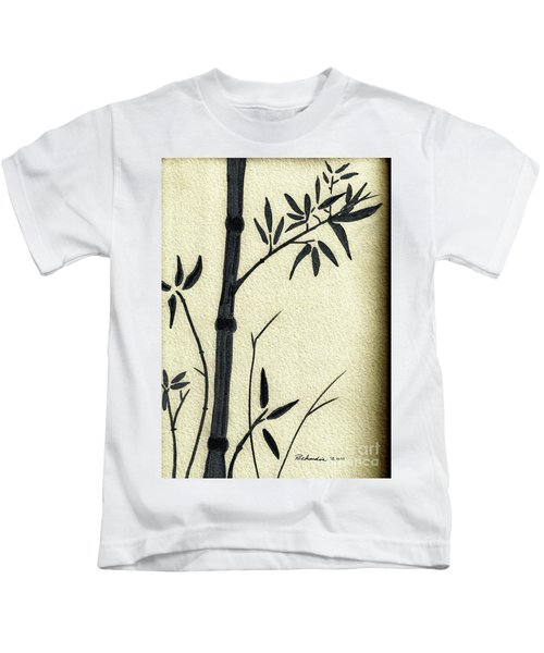 Zen Sumi Antique Bamboo 1a Black Ink On Fine Art Watercolor Paper By Ricardos Kids T-Shirt