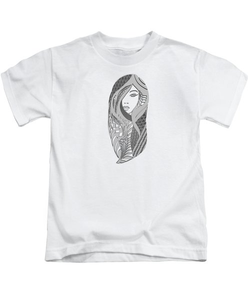 Zentangle Portrait 3 Kids T-Shirt