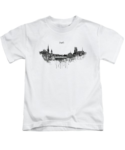Zurich Black And White Skyline Kids T-Shirt