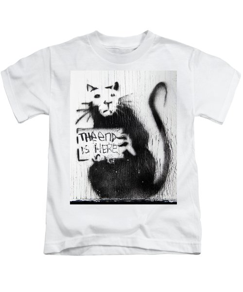 Kids T-Shirt featuring the photograph Banksy Rat The End Is Here by Gigi Ebert