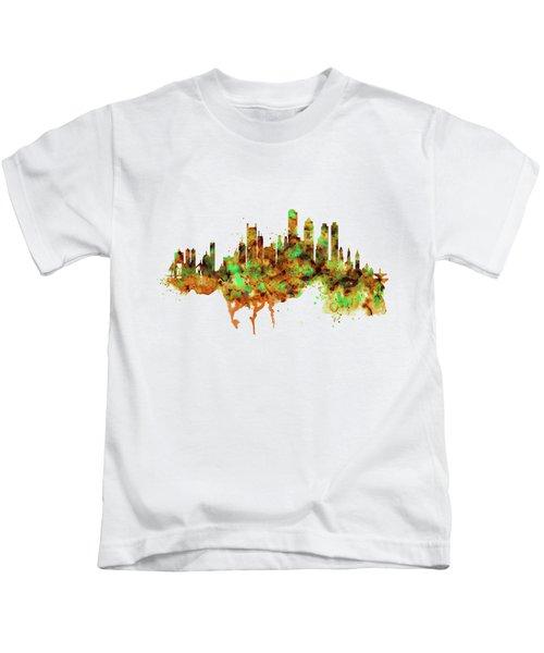Boston Watercolor Skyline Kids T-Shirt