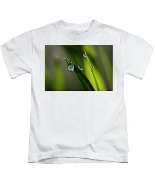Rain Drops On Grass Kids T-Shirt