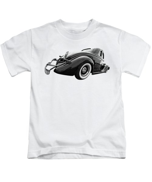 1935 Ford Coupe In Black And White Kids T-Shirt