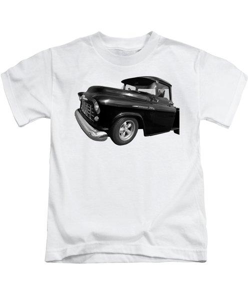 1956 Chevrolet 3100 Truck In Black And White Kids T-Shirt