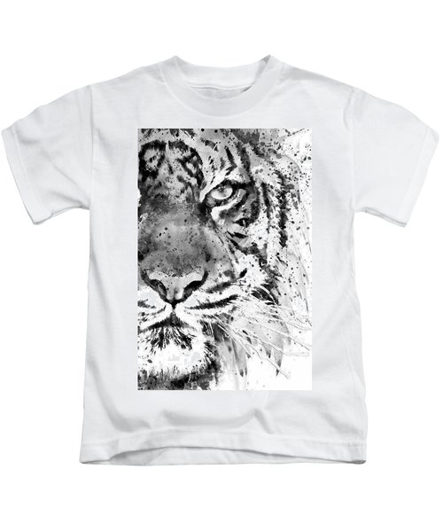 Black And White Half Faced Tiger Kids T-Shirt