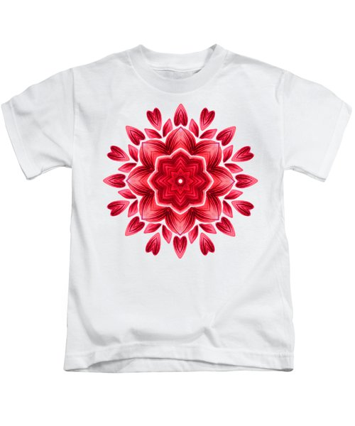 Abstract Watercolor Red Floral Mandala Kids T-Shirt