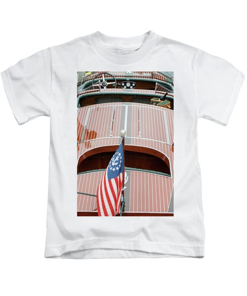 Antique Wooden Boat With Flag 1303 Kids T-Shirt