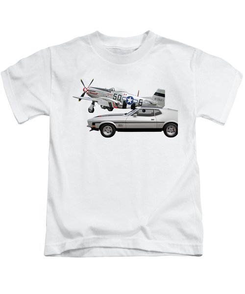 Mach 1 Mustang With P51  Kids T-Shirt
