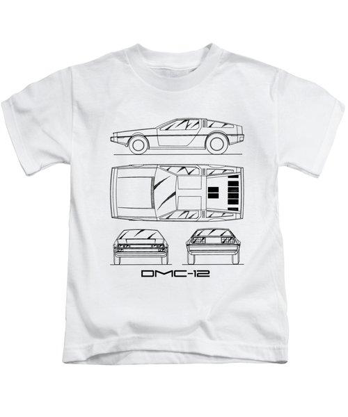 The Delorean Dmc-12 Blueprint - White Kids T-Shirt