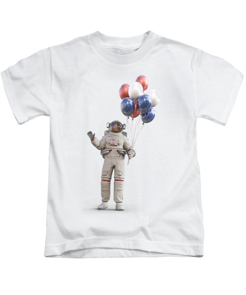 Astronaut With Happy Balloons  Kids T-Shirt
