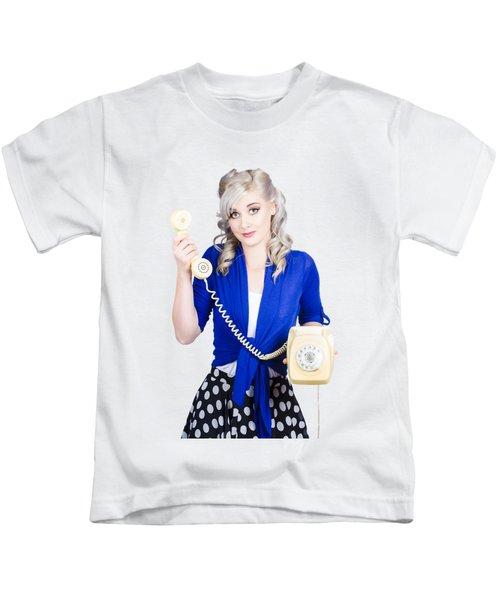 Attractive Blond Female Secretary On Vintage Phone Kids T-Shirt