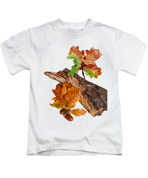 Autumn Oak Leaves And Acorns On White Kids T-Shirt