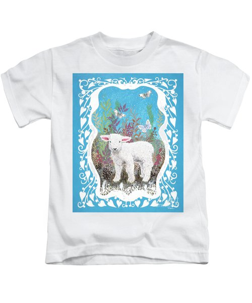 Baby Lamb With White Butterflies Kids T-Shirt