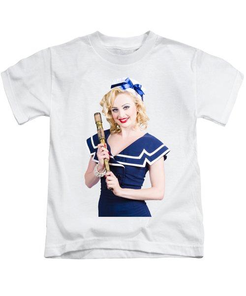 Beautiful Woman With A Telescope Kids T-Shirt