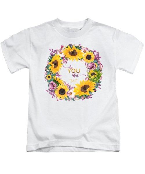 beYOUtiful floral wreath typography art Kids T-Shirt