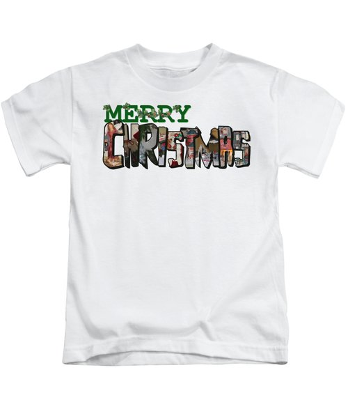 Big Letter Merry Christmas Kids T-Shirt