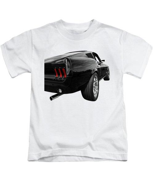 Black 1967 Mustang Rear Kids T-Shirt