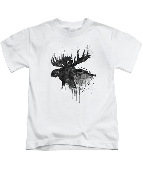 Black And White Moose Head Watercolor Silhouette  Kids T-Shirt