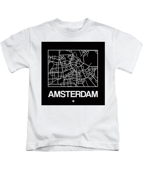 Black Map Of Amsterdam Kids T-Shirt
