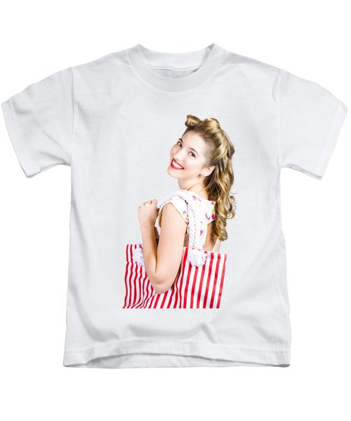 Blonde Style Girl With Shopping Bags On Pink Kids T-Shirt