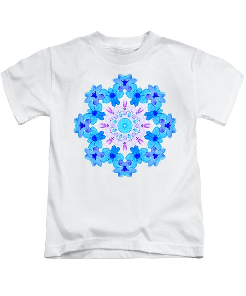 Blue Flowers Watercolor Mandala Kids T-Shirt