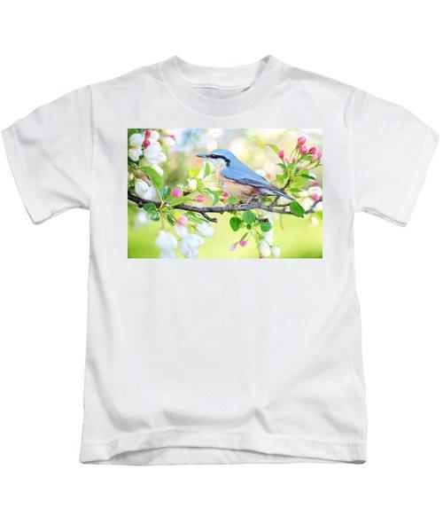 Blue Orange Bird Kids T-Shirt