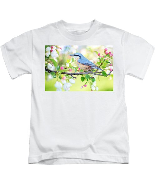 Blue Orange Bird Kids T-Shirt