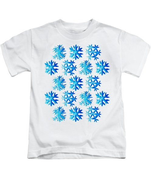 Blue Watercolor Snowflakes Pattern Kids T-Shirt