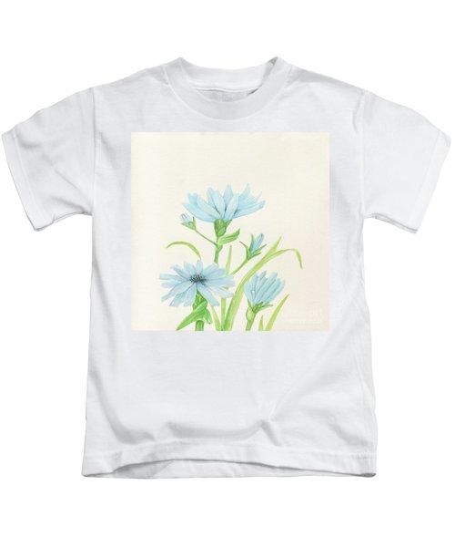 Blue Wildflowers Watercolor Kids T-Shirt