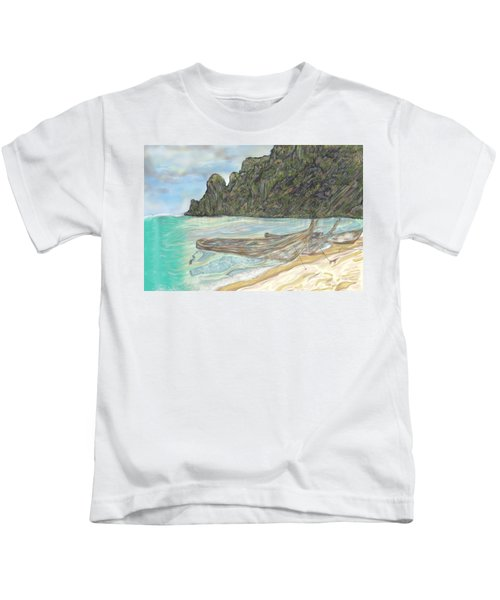 Boats On A Beach Kids T-Shirt