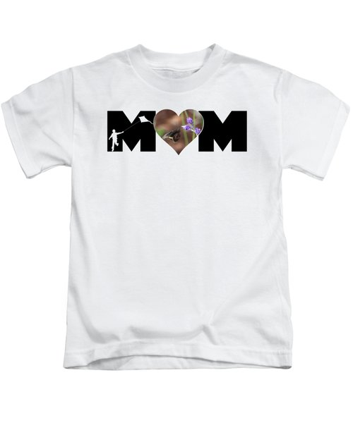 Boy Silhouette And Butterfly On Lavender In Heart Mom Big Letter Kids T-Shirt